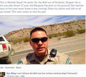 facebook post of BLM Ranger
