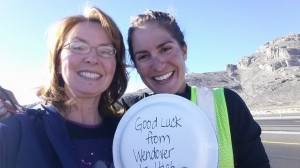 Karen Shepherd with Christina Lee passing through Wendover holding a Care package from Mrs Deanna Stewart's junior high class, home made chocolate chip cookies.