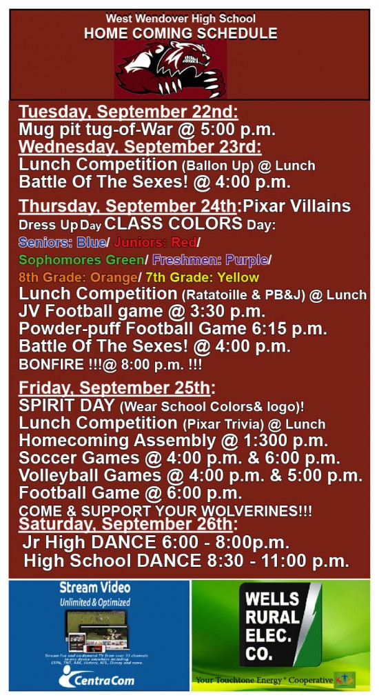 Homecoming Schedule fromTuesday- 2015-1