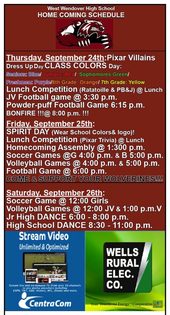 New Homecoming Schedule from Thursday3
