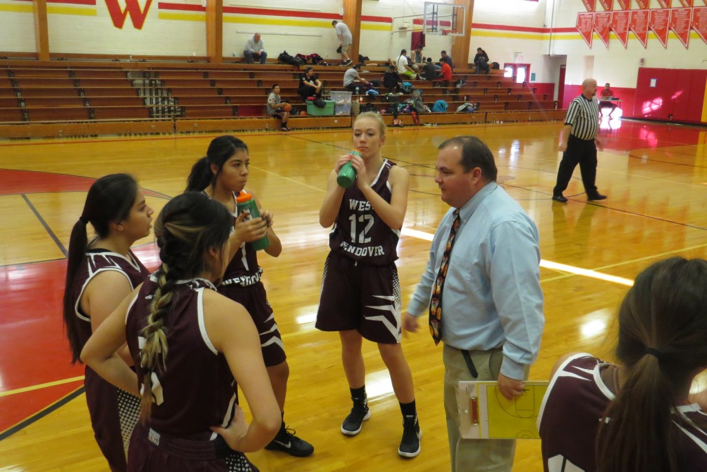 WWHS Girls basketball with coach Tyler Peterson
