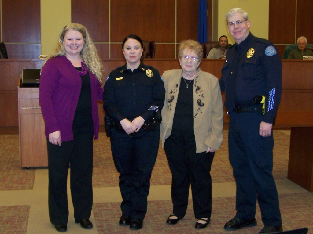 Mayor Emily Carter, Sergeant Cathrin Petro with her mother Dawn Petro, Chief Burdel Welsh. Photo Lt.Don Lininger