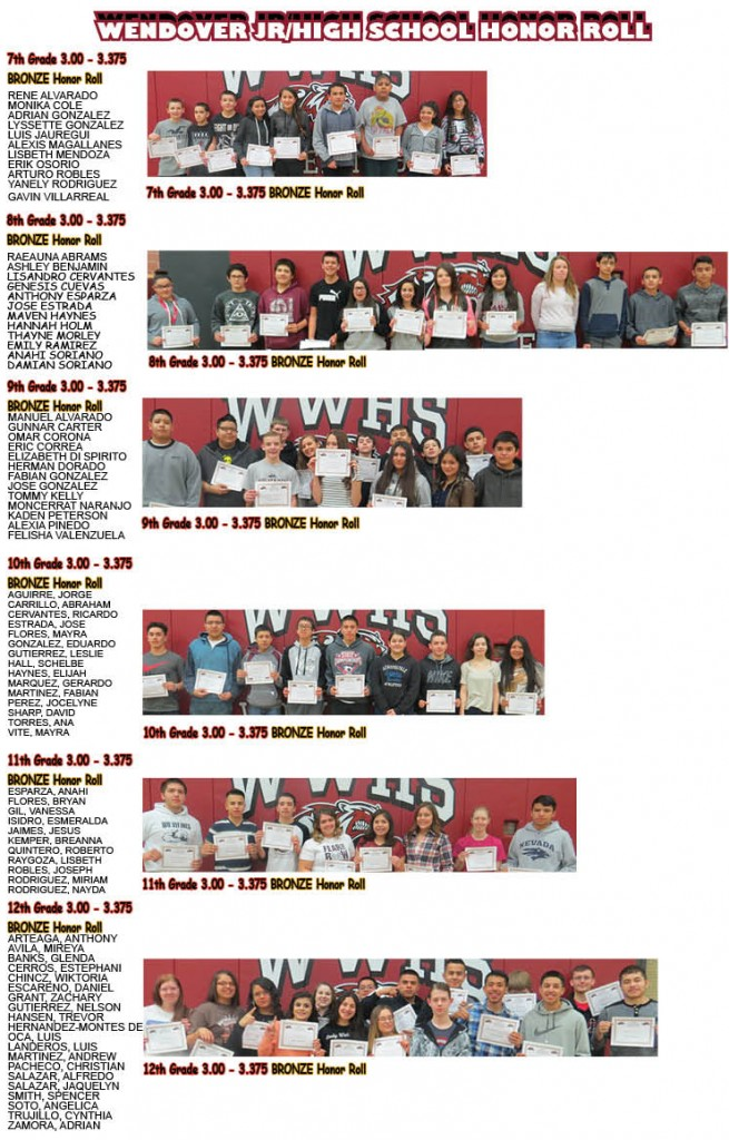 West Wendover Bronze Honor Roll Feb.2016