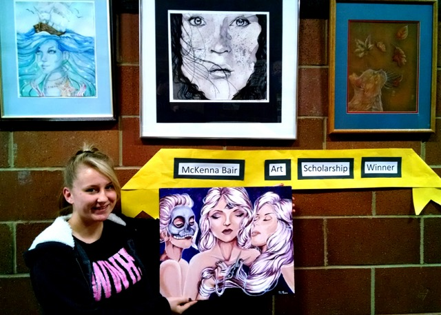 McKenna Bair, one of the two Art Scholarship Winners of Elko County Art Club this year with some of her Art(photo credit by Art Teacher Cheryl Bishop)..