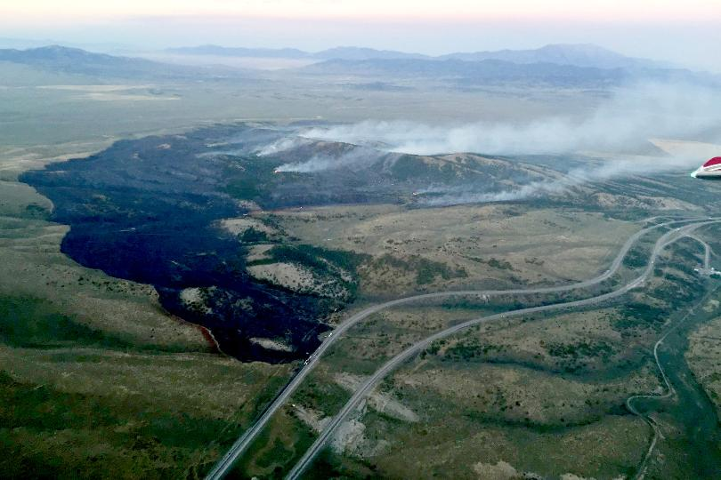 Winnebago Fire as it reached almost 1,600 acres. (photo courtesy of the Elko Interagency Fire Dispatch)