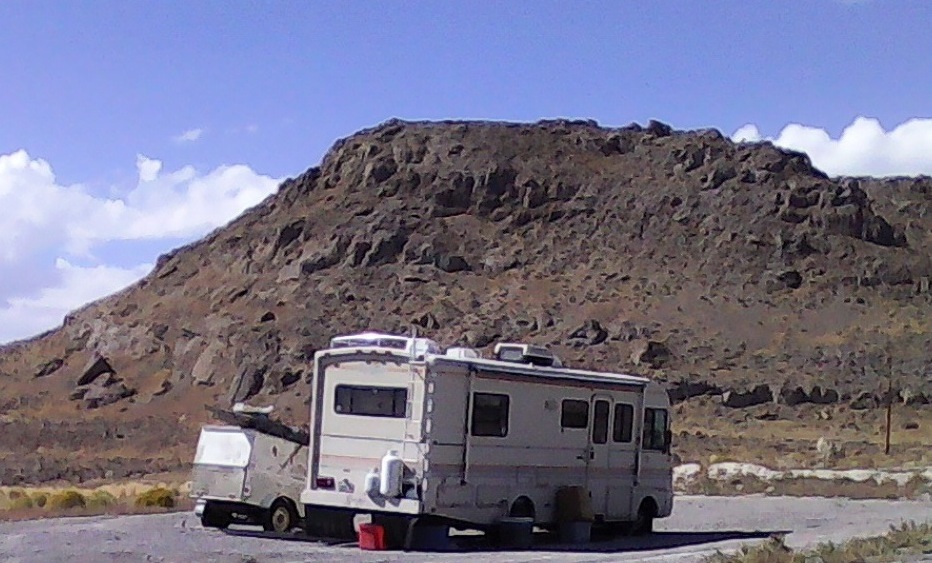 The trailer at the 3 Miles hill. (Photo credit High Desert Advocate staff)