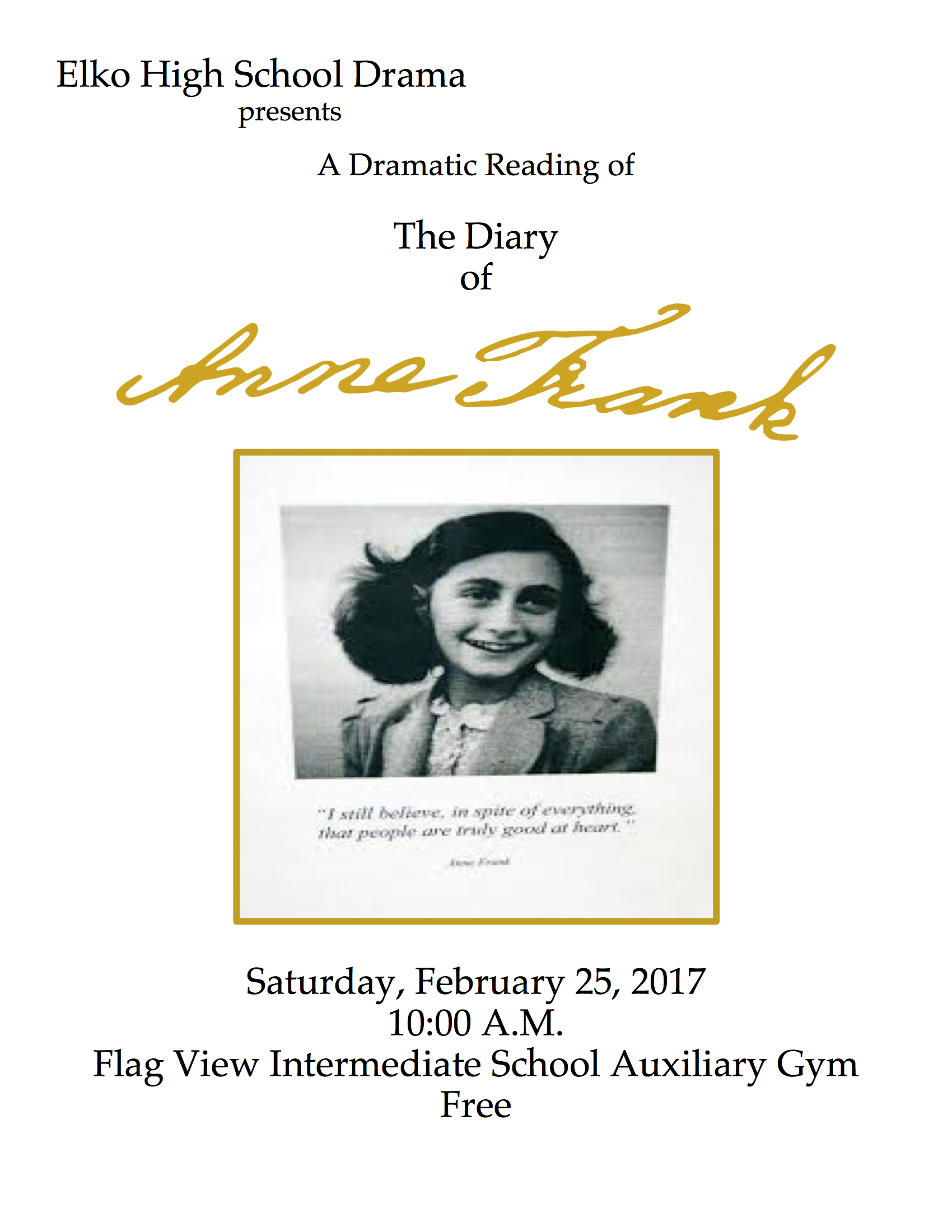 Elko High School Drama anne frank