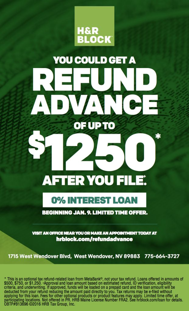 H&R Block 5 x 8.25 Refund Advance print ad