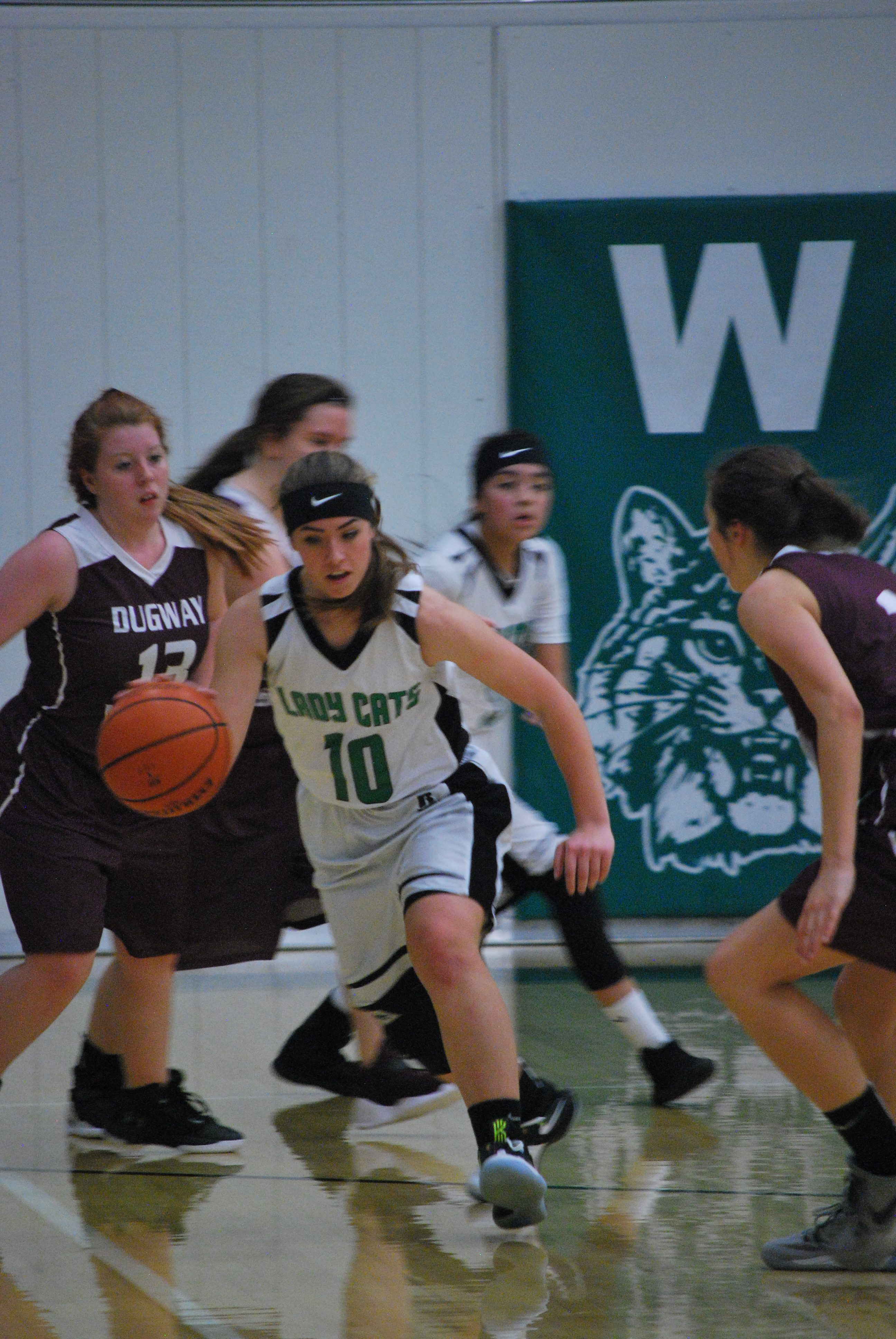 Wendover Lady Cat #10, Amanda Murphy with the ball. (Photo J. Mike Ringholz Art Teacher)